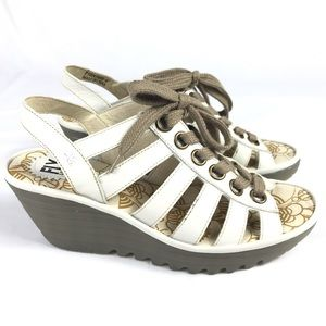 FLY LONDON Off White Yito Wedge Sandals Shoes41 10